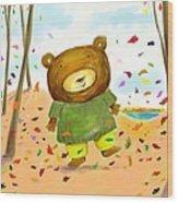 Fall Bear Wood Print by Scott Nelson