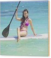 Female Paddler II Wood Print by Tomas del Amo