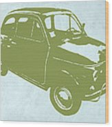 Fiat 500 Wood Print by Naxart Studio