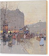 Figures In The Place De La Bastille Wood Print by Eugene Galien-Laloue