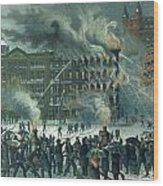 Fire In The New York World Building Wood Print by American School