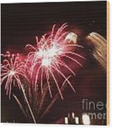 Firework Display Wood Print by Bernard Jaubert