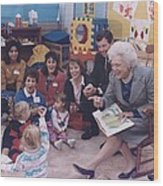 First Lady Barbara Bush And Missouri Wood Print by Everett