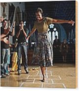 First Lady Michelle Obama Plays Wood Print by Everett