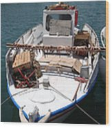 Fishing Boat With Octopus Drying Wood Print by Jane Rix