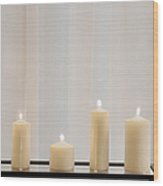 Five White Lit Candles Wood Print by Andersen Ross