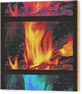 Flames Triptych Wood Print by Steve Ohlsen