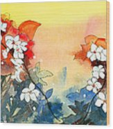 Floral Neklace Wood Print by Anil Nene