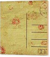 Floral Pattern On Old Postcard Wood Print by Setsiri Silapasuwanchai