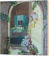 Flowers In Stone Doorway Wood Print by Jeanene Miller