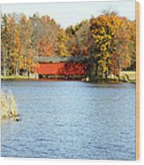Fowler Lake And Covered Bridge Wood Print by Franklin Conour