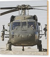 Front View Of A Uh-60l Black Hawk Wood Print by Terry Moore