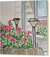 Front Yard Lights Sketchbook Project Down My Street Wood Print by Irina Sztukowski