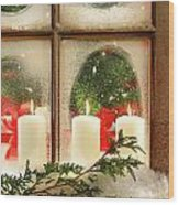 Frosted Window Wood Print by Sandra Cunningham