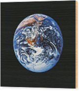 Full Earth From Space Wood Print by Stocktrek Images