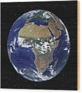 Full Earth Showing Africa And Europe Wood Print by Stocktrek Images