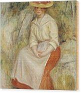 Gabrielle In A Straw Hat Wood Print by Pierre Auguste Renoir