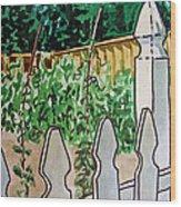 Garden Fence Sketchbook Project Down My Street Wood Print by Irina Sztukowski