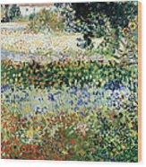 Garden In Bloom Wood Print by Vincent Van Gogh