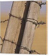 Gate Posts Join A Barbed Wire Fence Wood Print by Gordon Wiltsie