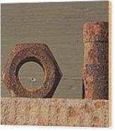 Geometry In Rust Wood Print by Cynthia Cox Cottam