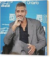 George Clooney At The Press Conference Wood Print by Everett