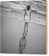 Girl By Ocean Wood Print by Kelly Hazel