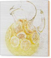 Glass Pitcher Of Lemonade Wood Print by Andee Design
