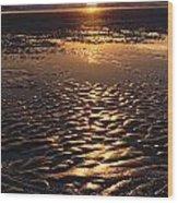 Golden Sunset On The Sand Beach Wood Print by Setsiri Silapasuwanchai