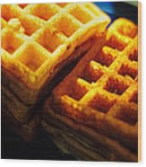Golden Waffles Wood Print by Rebecca Sherman