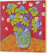 Green Daisy Bouquet Wood Print by Blenda Studio