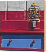 Gum Ball Machine On Red Desk Wood Print by Garry Gay