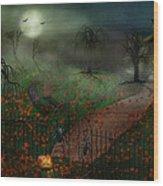 Halloween - One Hallows Eve Wood Print by Mike Savad