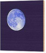 Harvest Moon - Blue Moon Wood Print by Steve Ohlsen