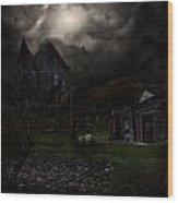 Haunted House Wood Print by Lisa Evans