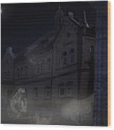 Haunted House Wood Print by Nafets Nuarb