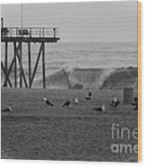 Hdr Black White Beach Beaches Ocean Sea Seaview Waves Pier Photos Pictures Photographs Photo Picture Wood Print by Pictures HDR