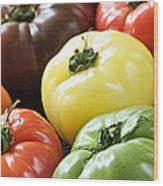 Heirloom Tomatoes Wood Print by Elena Elisseeva