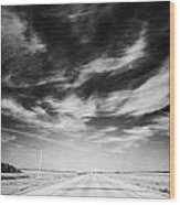 Highway Through Land Of The Living Skies Saskatchewan Canada Wood Print by Joe Fox