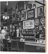 Historic Niles District In California Near Fremont . Bronco Billys Pizza Palace . 7d10707 . Bw Wood Print by Wingsdomain Art and Photography
