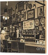 Historic Niles District In California Near Fremont . Bronco Billys Pizza Palace . 7d10707 . Sepia Wood Print by Wingsdomain Art and Photography