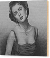 hollywood greats Elizabeth Taylor Wood Print by Andrew Read