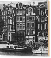 Homes Of Amsterdam Wood Print by Leslie Leda