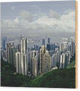 Hong Kong Island And The Bay Wood Print by Jason Edwards
