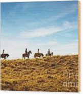 Horseback Riding Wood Print by Carlos Caetano