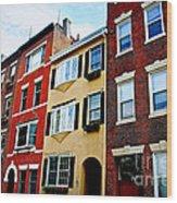 Houses In Boston Wood Print by Elena Elisseeva