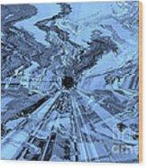 Ice Blue - Abstract Art Wood Print by Carol Groenen