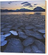 Ice Flakes Drifting Towards Wood Print by Arild Heitmann