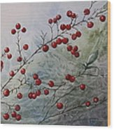 Iced Holly Wood Print by Patsy Sharpe