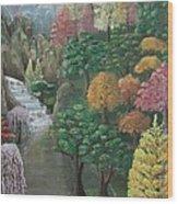 Imagined Autumn In Japan Wood Print by Ana Maria  Garcia Ruiz